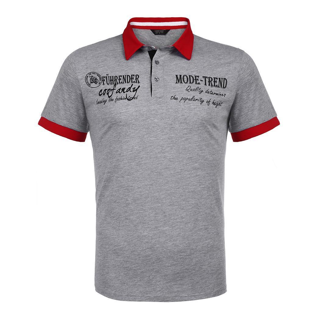 Regular Casual Short Down Letter Patchwork Turn 3-Button Shirt Sleeve Autumn Collar Casual   Polo   Men Summer Sports