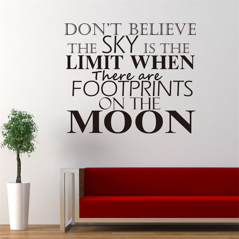 Powerful Quote Words Footprint On The Moon Mural Art Home Decor Wall Sticker Bedroom Decals
