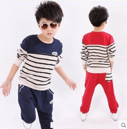 2016 New Design Spring Fall Boys Fashion Striped Clothing Sets Kids