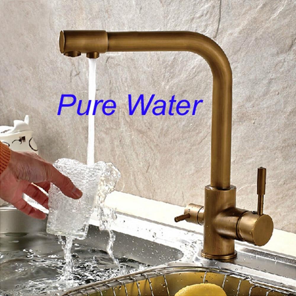 ФОТО Antique Brass Kitchen Faucet Hot & Cold Vessel Mixer Tap Pure Water Spout Vanity Faucet
