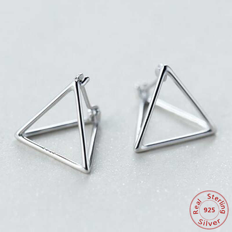 925 Sterling Silver Europe and America Minimalist Geometric 3D Hollow Triangle Stud Earrings for Women Rose Gold Color Earring