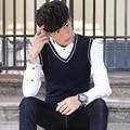 Fashion color blocked v-neck mens vest sleeveless slim fit knitted casual sweater vest men 5-colors MJ1-1