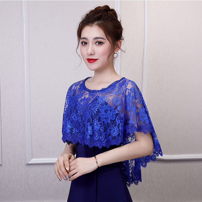 2019 Elegant Bridal Jacket And Wraps Royal Blue Lace Bolero Wrap Bridal Party Shrugs Front Short Long Back Formal Jackt
