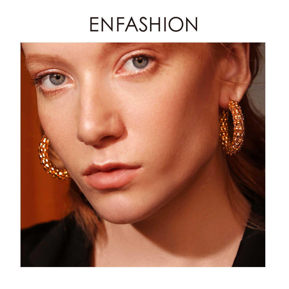 Enfashion Marcella Hoop Earrings Stainless Steel Gold Color Circle Earrings Trendy Round Earrings For women Jewelry EM181063
