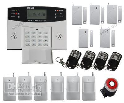 free shipping Wholesale - GSM SMS Home Burglar Security Alarm System Detector Sensor Kit Remote Control wholesale price gsm home alarm system wireless gsm sms home scurity burglar voice alarm system remote control arn disarm