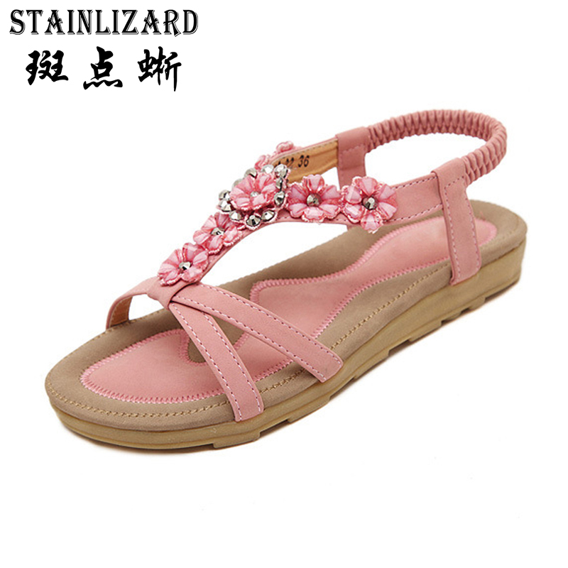 2017 women sandals bohemia flower Summer women Shoes Slip-on flats Female sandals Casual ladies shoes sandalias big size CCDT239 цена