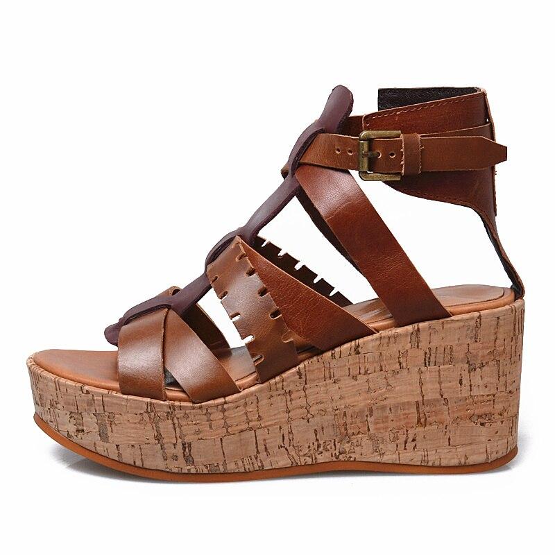 Prova perfetto, zapatos de verano de Tacón de Cuña con plataforma plana de color mixto de cuero genuino para mujer, sandalias con punta abierta, sandalias romanas - 3