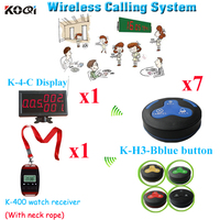 Customer Beeper Buzzer System For Restaurant Wireless Paging 1 Display &1 Watch & 7 Waterproof  Button For Sample