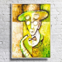 Wall art picture Hanging art on Canvas Handmade Beauty Woman with a hat modern abstract Oil Painting for living Room home Decor