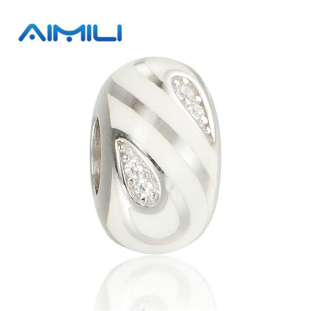 Newest Design 925 Sterling Silver White Enamel Charms Fits Diy Bracelets GW Fine Jewelry AMLD018H20