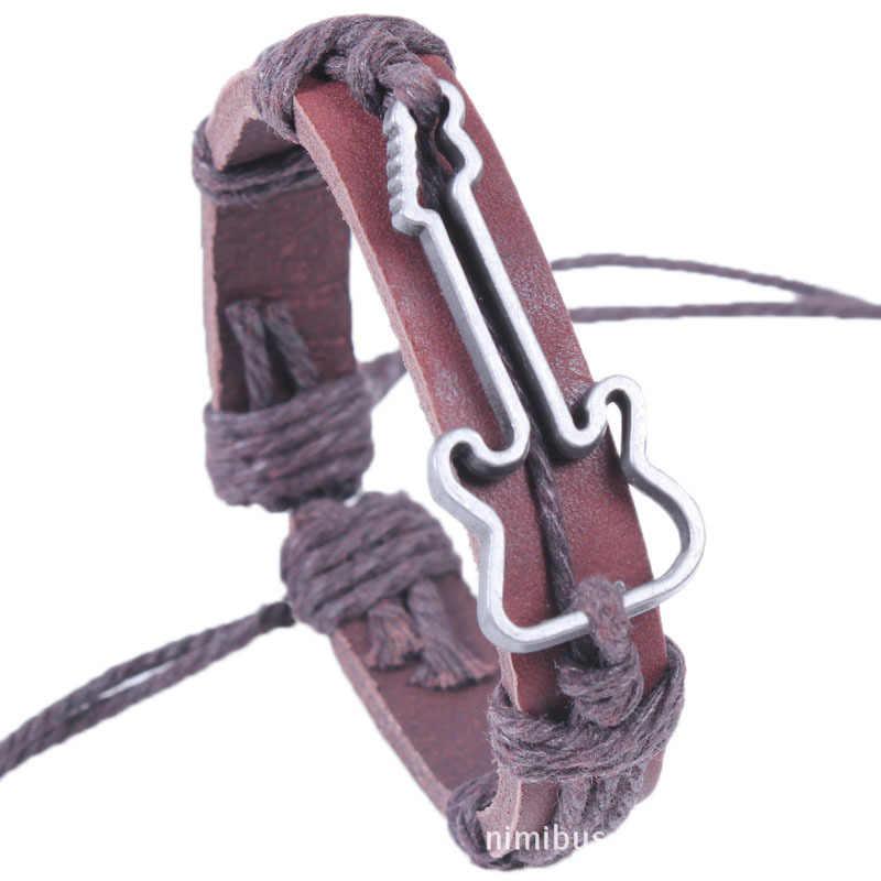 Hollow Gitar Wrap Deri Bilezik Kadın Erkek Gümüş Charm Avrupa Kenevir Halat Bağlantı Zinciri Manşet Bilezik PU Kordon Bilekliği Takı