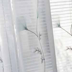 Image 2 - 나뭇잎 수 놓은 커튼 거실에 대 한 세미 라이트 음영 창 커튼 침실 MY059 30 대 한 목가적 인 창 Valance