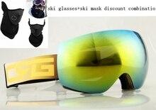 Free shipping ski goggles high-end local tyrants ski mirror gold green anti-fog lens fashion Black ski mask Outdoor sports mask