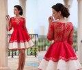 Rojo Corto Formal Vestidos de Fiesta 2016 Media Manga de Encaje Corto Vestidos de Baile Una Línea Plisado Del O-cuello Sobre La Rodilla Mini Vestidos de Noche