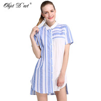 2017 Summer Women Blouses Brand Quality Cotton Blusas Mujer Long Shirts Sexy Shirt Dresses Casual Blue