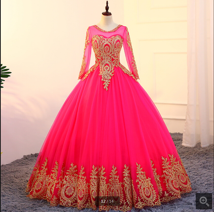 Real photo ball gown fuchsia gold lace appliques long sleeve princess prom dress modest muslim women puffy prom gowns hot sale