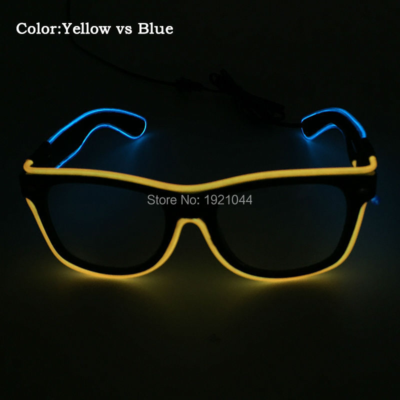 2017 Fashion Sound Actived Double Color 12 Style EL Sunglasses Powered By DC-3V Neon glow light Event Party Supplies