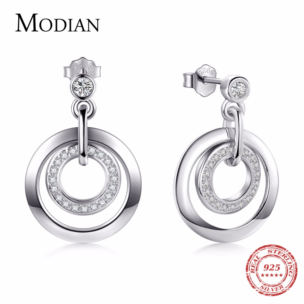 Modian 2018 Hot Sale Real 925 Sterling Silver Classic Round Stud Earrings Clear Cz Luxury Jewelry For Women Christmas Wedding