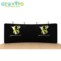 20ft*7.5ft Exhibition Portable Aluminum Stand With Fabric Banner Printing,High Quality Curved Tension Fabric Backwall Display