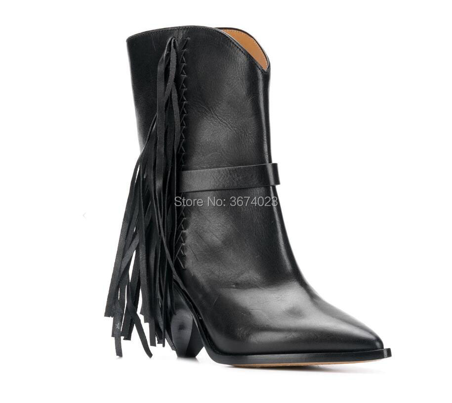 Qianruiti 2018 Cowboy Boots Women Black