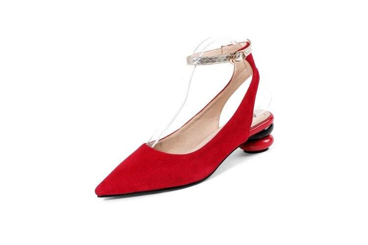 Rouge Épais rouge Talons Noir Stilettos Mariage La Pompes Pointu Femme En Partie Conception Cheville Bout Daim Femmes Chaussures Dames marron À De Bride Bal Sexy Haute U4Iqa7nnw