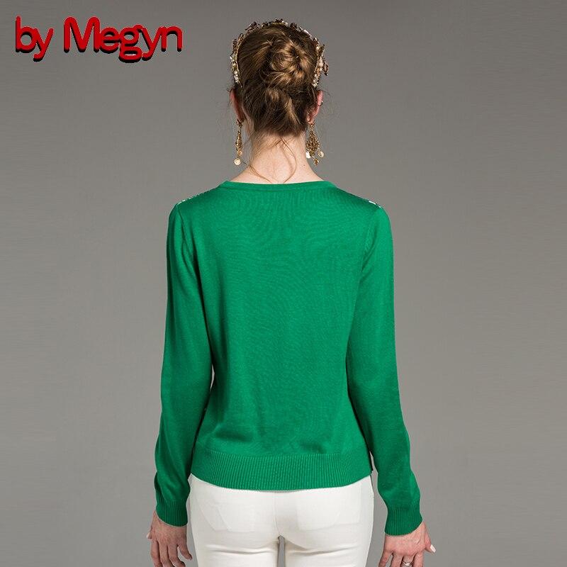 Image 4 - 2019 свитер женский sweater Women Fashion V neck Long Sleeve wool  green flower Print Top Jumper  runway style 2XL plus sizepullover  sweater womenjumper sweaterpullover sweater