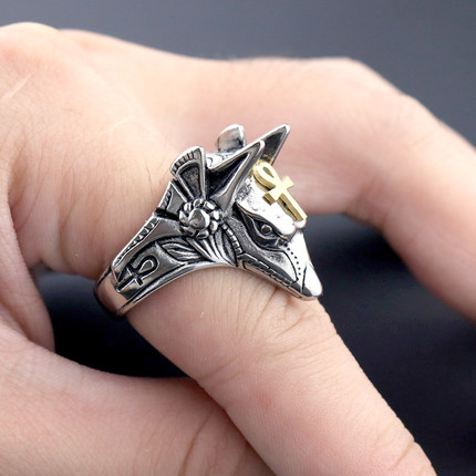 Domineering Death Ring Man Ring Anti-wolf Titanium Steel Survival Self-protection Personality Of Male Students Martial Arts Jewe