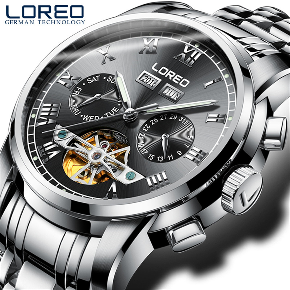 2017 Luxury Brand LOREO Tourbillon Watches Men Mechanical Watches Sapphire Waterproof 50m Fashion Men Watch hours Relogio loreo mechanical watch men 50m diving luxury brand men watches tourbillon skeleton wrist sapphire automatic watch waterproof