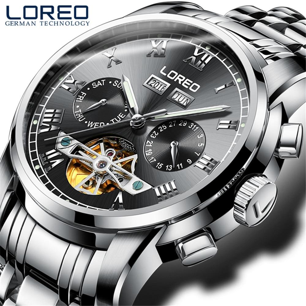 2019 marque de luxe LOREO Tourbillon montres hommes montres mécaniques saphir étanche 50m mode hommes montre heures Relogio