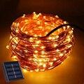 33FT 10 М 100 LED Солнечный СВЕТ Лампы Сад Свет Solaris панель Медной Проволоки Свет Строка Открытый Фея Лампа Для Свадьбы рождество