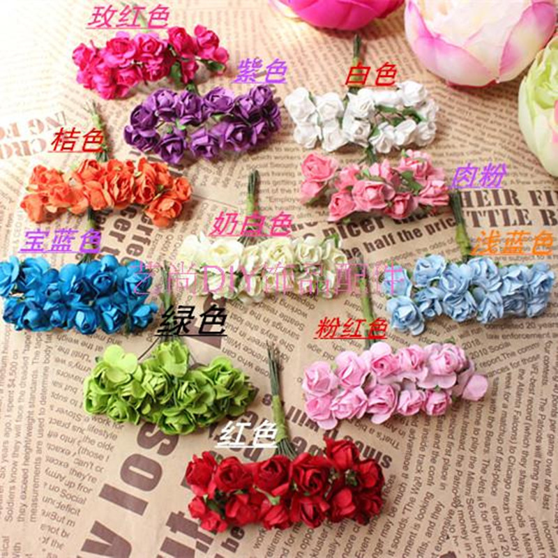 144PCS / Lot 1.5 Cm Artificial Small Paper Rose Handmade Party Supplies  Wedding Car Decoration Artificial