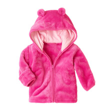 NEW 3-24M Winter Jacket Fall Warm Thick Coral Fleece Baby Boys Girls Coat Long Sleeve Cute Ear Hooded Solid Outwear Girl Clother