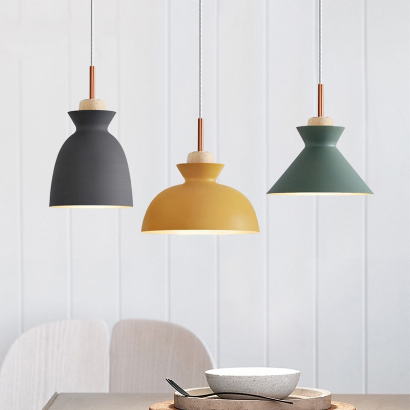 Modern Colorful pendant lights lamps for Restaurant kitchen Dining room Lighting Holder Decoration E27 hanging light fixturesModern Colorful pendant lights lamps for Restaurant kitchen Dining room Lighting Holder Decoration E27 hanging light fixtures
