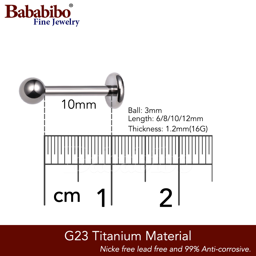 Tragus Ear Piercing(Labret Lip Piercing),Titanium,16g, 6-10mm,Sliver - Fashion Jewelry - Photo 3