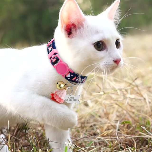 Personalized Cat Collar With Bell And Number Tag  5
