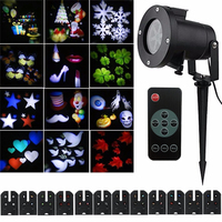 Thrisdar Christmas Snow Laser Projector Light 12 Slide Outdoor Star Snowflake LED Stage Light For Party
