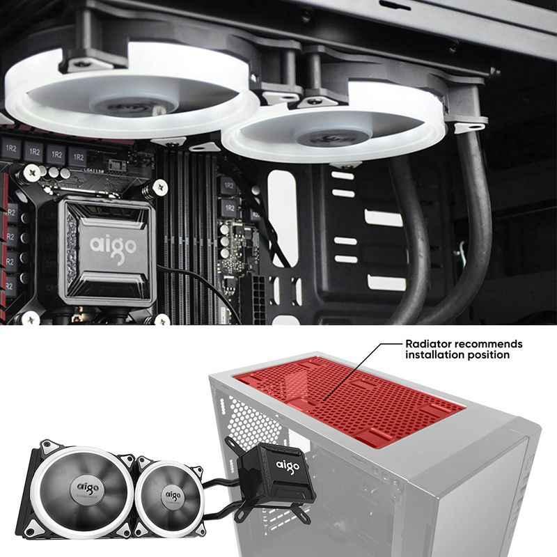 Darkflash AIGO Nước Lỏng CPU T120/240 Tản Nhiệt Êm Quạt có Nước Làm Mát cho CPU LED Hào Quang Đèn LGA 775/AM2/AM3/AM4