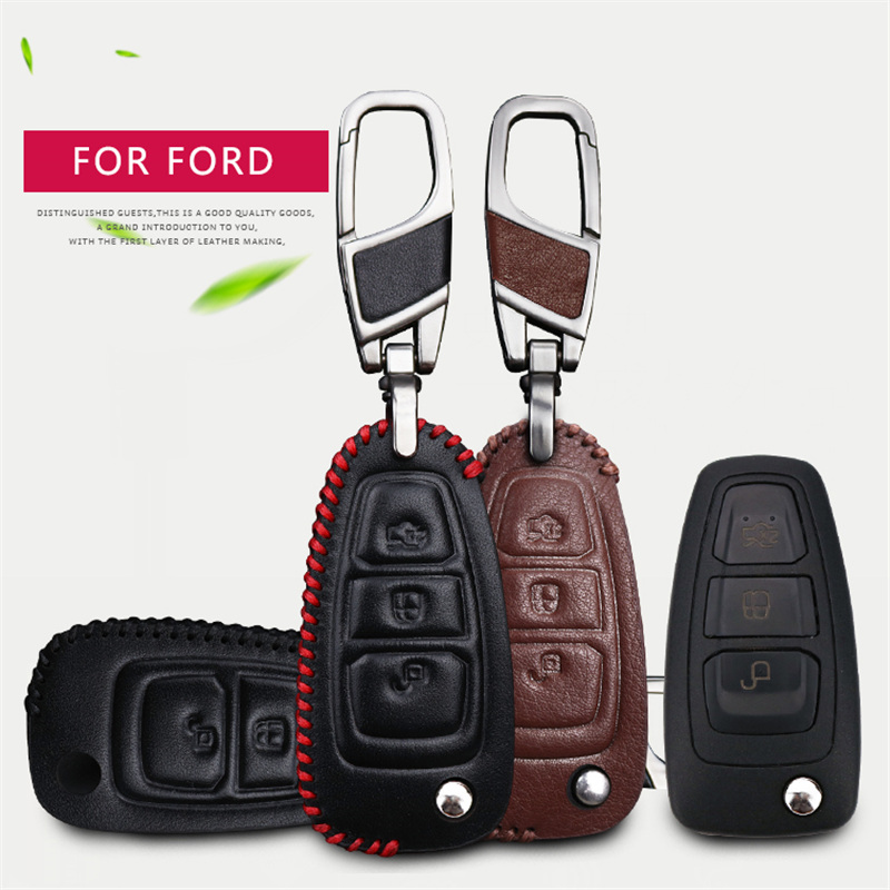 Genuine Leather Car Embelm Key Case Cover Shell Holder Key chain For Ford Focus 2 3 Fiesta Transit Ecosport Mondeo Kuga S-MAX