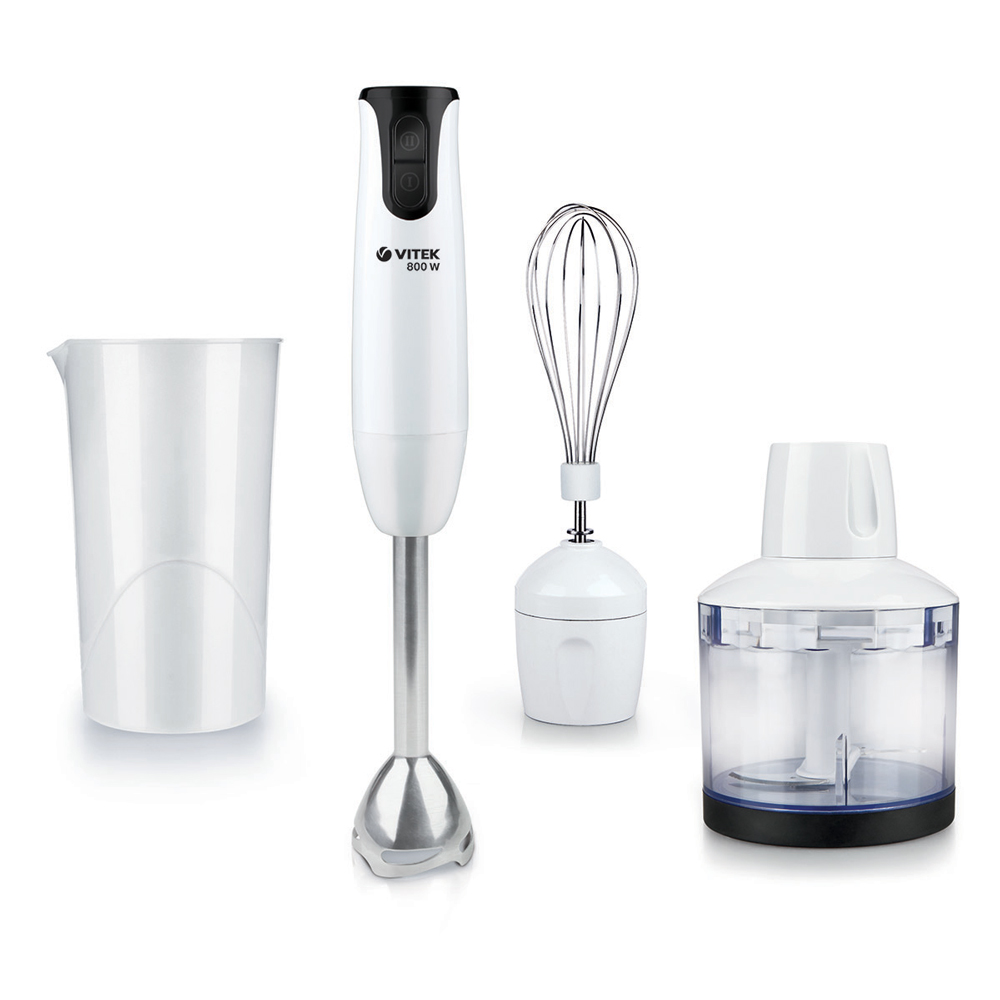 Immersion blender VITEK VT-3412 W (Power 800 W, 2 speeds, chopper capacity 500 ml, measuring cup 700 whisk)