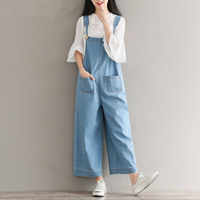 b4260e2fcd5 Brand Jeans Women Jumpsuit Denim Romper Overalls Casual Long Trousers  Vaqueros Basic Denim Pants Wide Leg Rompers Female