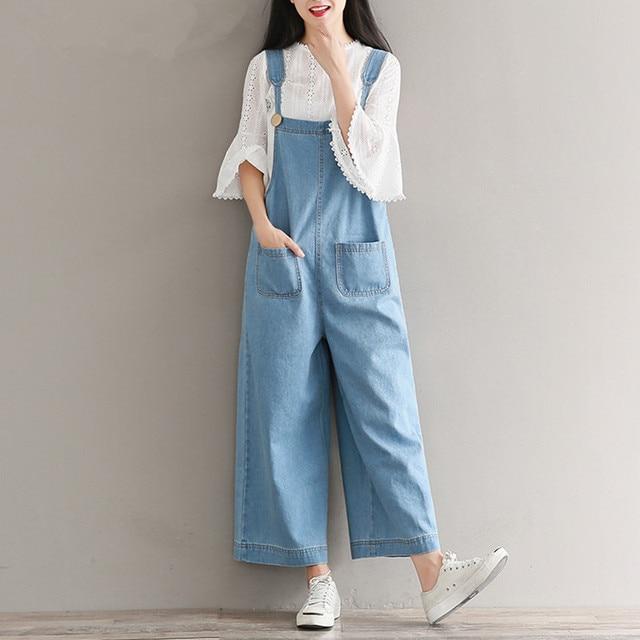 a5aec240f3e6 Brand Jeans Women Jumpsuit Denim Romper Overalls Casual Long Trousers  Vaqueros Basic Denim Pants Wide Leg Rompers Female