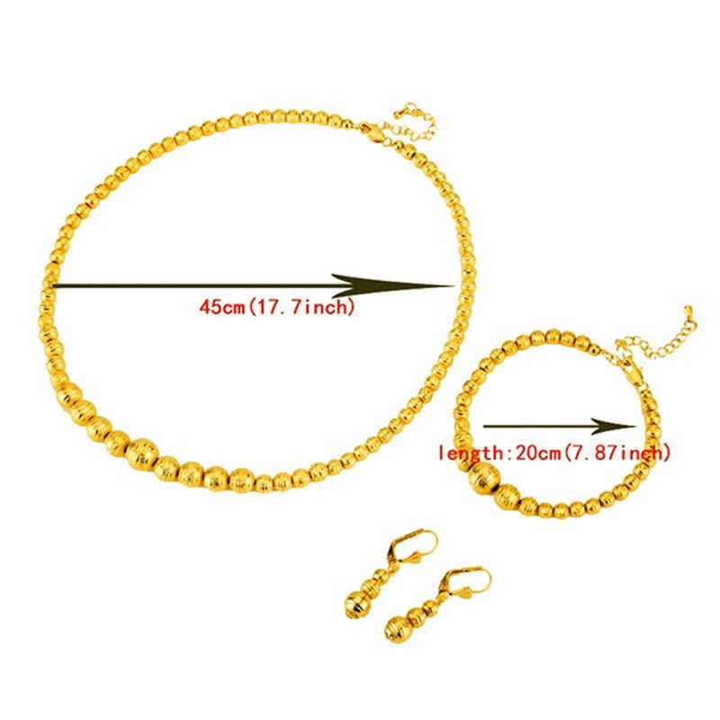 Heißer Verkauf Perle Halskette Ohrringe Armband set Schmuck Ball Für Frauen Gold Farbe Afrika/Arabischen/Nahen Osten/ äthiopischen