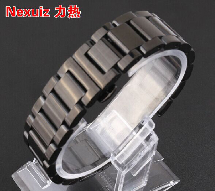 Watchbands , Black watch bands strap bracelet 22mm for hours men watches High Quality Stainless Steel butterfly buckle 26mm watch strap for hours stainless steel bracelet for wrist watches gd016326