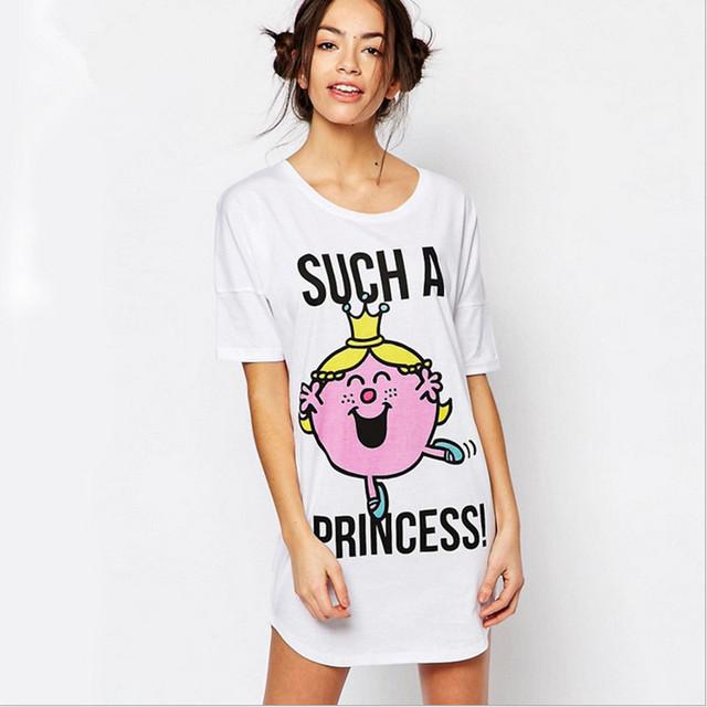 2016 Nueva llegada de las mujeres camisones lindos princesa sexy dormir vestido material algodón softy moda letras impresas para damas