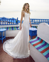 LORIE  Princess Sweetheart Wedding Dress Spaghetti Straps Mermaid Bride Floor Length Buttons Back Boho Gown