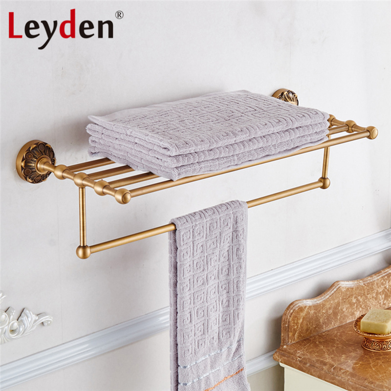 Leyden Black/ Antique Brass Towel Rack Holder Vintage Bath Towel ...