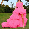 Hot Pink High Low Prom Gowns Off the Shoulder Tiered Tulle Hi Low Evening Party Dress 2019 Chic Long Formal Dress