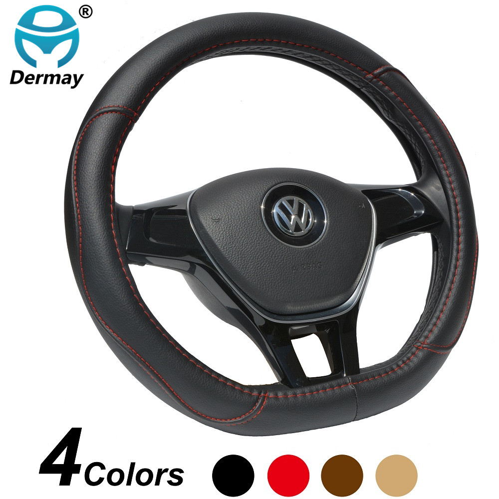 DERMAY D Shape Microfiber Leather Car Steering Wheel Cover Four Seasons Slams Sterring Wheel Hubs For VW GOLF 7 2015 POLO JATTA dermay high quality car genuine leather steering wheel cover massage m size for lada ford nissan vw skoda chevrolet etc 98% car