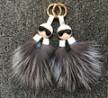New Fashion Keychains Real Fox Fur Doll Bag Charm Fur Pom Pom Car Pendant New Karlito Bag Pendant Monster Fur Bag Bug handmade
