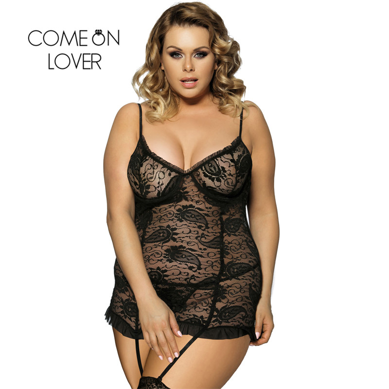 Comeonlover Sexo Porno Hot Erotic Sexy Costume Exotic Apparel Sex Dress Lace Mesh Plus Size 6XL Sexy Lingerie Babydoll RI7296